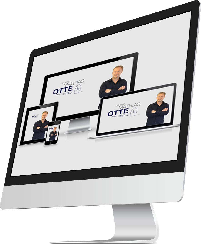 Responsive Webdesign Homepage von Dr. Mathias Otte auf verschieden großen Endgeräte